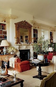 Remembering Oscar de la Renta's Stunning Homes - The couple turned once again to Ernesto Buch to build an extension to the Kent, Connecticut, country home Mr. de la Renta had owned since the seventies. Decor, House Design, Traditional Decor, Interior, Cozy House, Home Decor, House Interior, English Decor, Interior Design