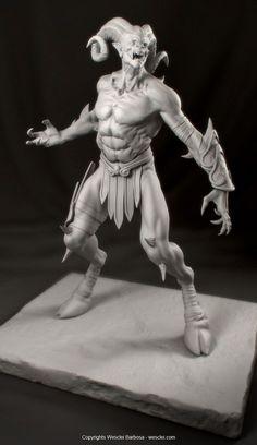 ArtStation - Satyr - God of War 3 fan art, Wesclei Barbosa 3d Character, Character Concept, Concept Art, Ange Demon, Demon Art, Fantasy Creatures, Mythical Creatures, Macabre Art, Modelos 3d