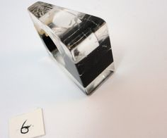 60s clear & black stripes heavy laminated lucite ring Size 6 vintage by LoukiesWorld on Etsy