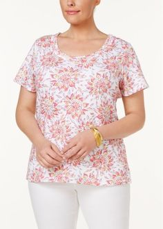 6e07137ec00f0 XL Charter Club Plus Size Cotton Floral-Print T-Shirt Sunflower new with  tags