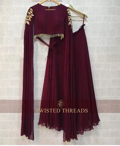 Maroon wine gold cocktail lehenga with dupatta attached to the blouse. Click on image to see price. #Frugal2Fab