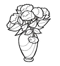 beautiful flower in vase coloring page for kids