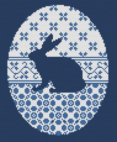 Cross stitch pattern, rabbit silhuette, hare, vintage needlepoint, Easter egg                                                                                                                                                                                 もっと見る