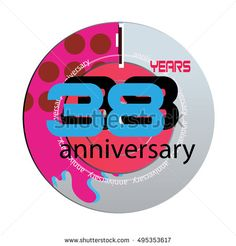 38 years anniversary logo with pink color disc. anniversary logo for birthday, wedding, celebration and party