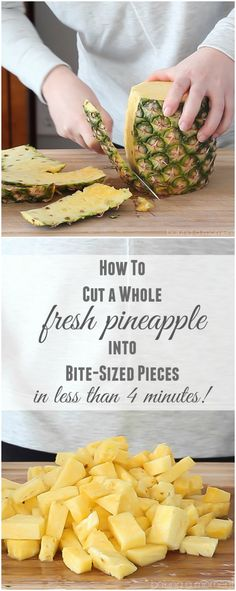 How to cut a whole fresh pineapple into bite-sized pieces in less than 4 minutes! ~ http://bakingamoment.com