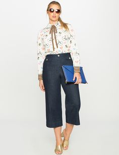 I have this top in the black cat print, but I love it paired with these culottes.  Saving for inspiration!