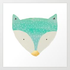 emerald fox with gold nose Art Print by Sweet Reverie - $18.00