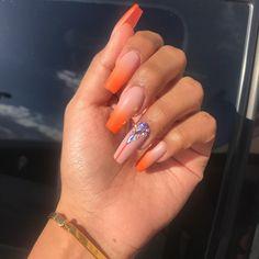 51 Stunning Yellow Acrylic Nail Art Designs For Summer 192 Orange Ombre Nails, Orange Acrylic Nails, Cute Acrylic Nails, Cute Nails, Pretty Nails, White Ombre, Orange Nail Designs, Nail Art Designs, Winter Nails