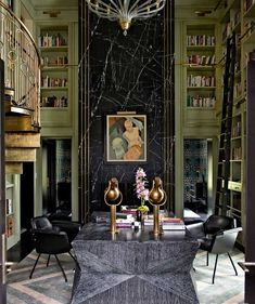 Art Deco Library - Love that green.