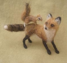 Sweet miniature needle felted fox and squirrel