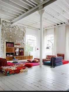 Scandinavian Delight - Colourful floor cushions have even more impact in a white high ceilinged room - Click Pic for More Ideas - Large Floor Cushions
