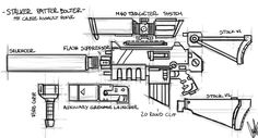 The Bolter is a large, calibre assault rifle. It has a much greater mass than most standard-issue rifles such as the Lasgun, although it is slightly shorter in length. Battlefleet Gothic, Sci Fi Models, Warhammer 40k Art, Grenade, Concept Weapons, Tabletop Games, Space Marine, Clip, Nerf