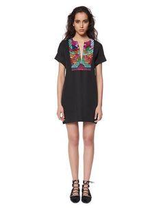 Mara Hoffman Radial Embroidered Tunic Dress in Black Multi