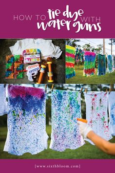 Dec 2018 - Painting shirts with water guns to create a tie dye t-shirt was a blast. Learn How to Tie Dye Shirts with Water Guns through our easy step by step tutorial. Fête Tie Dye, Tie Dye Party, How To Tie Dye, Kids Tie Dye, Diy Tie Dye Paint, Diy Crafts For Kids, Fun Crafts, Art For Kids, Party Crafts