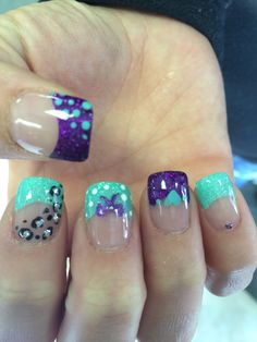 Purple And Turquoise Nail Designs Best 2018