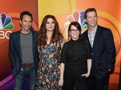 """New Trending Celebrity Looks: The Cast of """"Will & Grace"""" at the 2017 Summer TCA Tour – NBC Press Tour.  They look a heck of a sight better here than they did at the ribbon-cutting whatever-it-was yesterday, which you can find pictures of here, along with our bitching complaints wariness regarding this new season (the upshot of which is, the socio-politico-cultural landscape for LGBTs has changed..."""