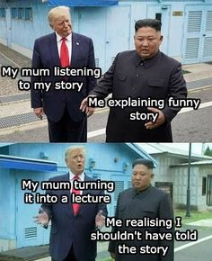 No matter your political affiliation, we can all come together to laugh at this meme featuring Trump and Kim Jong-Un. Trump & Kim Jong-Un Are The Stars Of These Decidedly Un-Political Dank Memes - Funny memes that 9gag Funny, Crazy Funny Memes, Really Funny Memes, Stupid Memes, Funny Relatable Memes, Haha Funny, Funny Texts, Funniest Memes, Funny Stuff