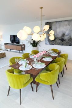 contemporary dining room with chartreuse green colour pop dining chairs / dining, table, home decor, interior design / Dining Decor, Dining Room Design, Dining Furniture, Dining Area, Dining Chairs, Dining Rooms, Dining Table, Green Dining Room, Dining Room Inspiration