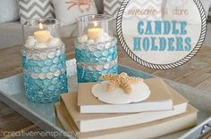 Dollar Store Candle Vases - CreativeMeInspiredYou.com candle holders, dollar store,  glass marbles, home decor,  vases