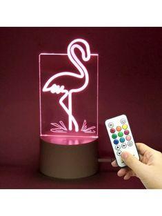 Color Changing Flamingo Shape Telecontrol Night Light - Transparent