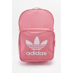 adidas Classic Trefoil Pink Backpack (57 CAD) ❤ liked on Polyvore featuring bags, backpacks, pink, adidas backpack, knapsack bag, polyester backpack, adidas and zip top bag