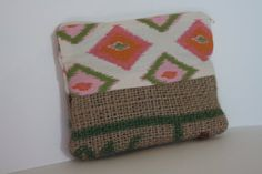 Upcycled Burlap Zippered Pouch with Tribal Ikat by hilltribers