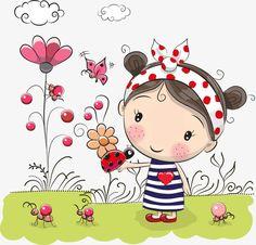 Vector de flores niña, Flores, Linda Chica, Chica De Dibujos Animados PNG y Vector