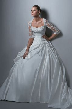 Taffeta Lace Puffy Scoop Princess Wedding Dress With Sleeves