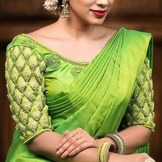 Looking for half hand blouse designs to try with your party wear sarees? Here are 15 chic blouse models that can make your silk and designer sarees pretty! Pattu Saree Blouse Designs, Blouse Designs Silk, Designer Blouse Patterns, Bridal Blouse Designs, Pattern Blouses For Sarees, Hand Work Blouse Design, Women's Blouses, Sleeves Designs For Dresses, Sleeve Designs
