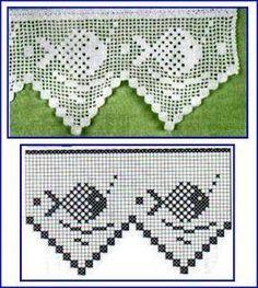 Risultati immagini per miria croches e pinturas Crochet Boarders, Crochet Lace Edging, Crochet Flower Patterns, Crochet Designs, Crochet Doilies, Crochet Fish, Fillet Crochet, Crochet Home, Thread Crochet
