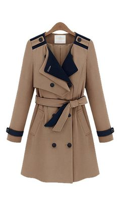 To find out about the Camel Long Sleeve Epaulette Belt Pocket Trench Coat at SHEIN, part of our latest Outerwear ready to shop online today! Khaki Trench Coat, Trench Coats, Blazers, Patchwork Designs, Fashion Outfits, Womens Fashion, Autumn Winter Fashion, Winter Style, Coats For Women