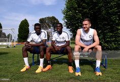 Assane Demoya Gnoukouri, Isaac Donkor and George Puscas attend FC Internazionale training session at the club's training ground at Appiano Gentile on May 14, 2015 in Como, Italy.