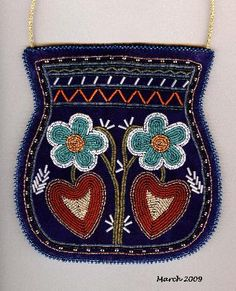 """Two Flowers and Two Leaves""  Beaded Purse  Wabanaki Beadwork by Rhonda Besaw"