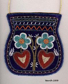 """Two Flowers and Two Leaves""  Beaded Purse  Wabanaki Beadwork by Rhonda Besaw"