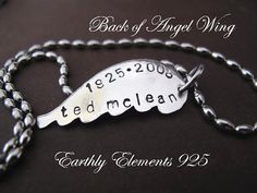 angel wing necklace, want my dads name and brith-death dates engraved Angel Wing Necklace, Scarf Jewelry, Memorial Gifts, Sell Items, Angel Wings, Things To Buy, Scarfs, Dates, Celebration