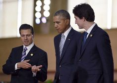 El presidente de México, Enrique Peña Nieto, a la izquierda, con el presidente de EEUU, Barack Obama, centro, y el primer ministro Justin Trudeau, en la cumbre de Cooperación Económica de Asia y el Pacífico en Manila, el año pasado.  Los tres amigos se reúnen esta semana en Ottawa.