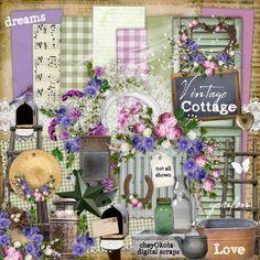 Digital Scrapbook Kit  Vintage Cottage by cheyOkota on Etsy, $5,49