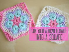 CROCHET: African flower into a square tutorial | Bella Coco