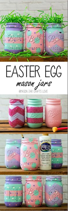 Easter Craft with Mason Jars. I know it says Easter, but who couldn't use a splash of color during the Winter??!!