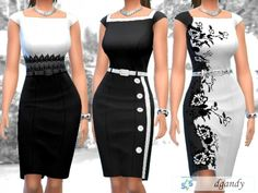 The Sims Resource: Black and White Pencil Dress by dgandy • Sims 4 Downloads