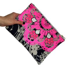 Items similar to sale - NEON PINK CLUTCH. Navy and white, vintage dress fabric, printed with a bold fluorescent pink vinyl pattern. Textile Jewelry, Jewellery, Textile Recycling, Pink Clutch, Navy Fabric, Charity Shop, Gorgeous Fabrics, Recycled Fabric, Vintage Prints