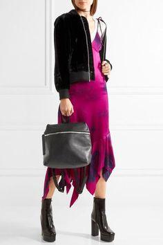 KARA - Large Textured-leather Backpack - Black - one size
