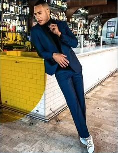 Men's Outfits 2021 | Lookastic Trai Byers, Navy Pinstripe Suit, Blue Suit Men, Suit Combinations, Empire, Black Leather Biker Jacket, Sneakers Street Style, Smart Styles, Classy Men