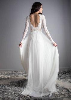 Long Sleeve Wedding Dress Scoop Back Wedding Dress Wear Your
