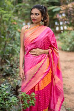 Pink and orange striped Jammalamadugu silk saree with zari border #saree #blouse #houseofblouse #indian #bollywood #style #pink #orange #gold #zari #striped #jammalamadagu #silk