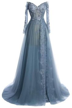 Vintage prom dress, ball gown, elegant gray tulle lace long prom dress with sleeves