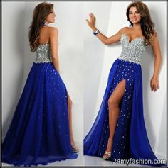Glamour by Terani Couture Beaded Illusion Bodice High Slit Gown ...