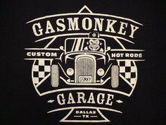 TeeFury L Graphic Tees Solid Regular Size T-Shirts for Men Garage Logo, Garage Art, Gaz Monkey, Chevy, Richard Rawlings, Logos, Gas Monkey Garage, Pop Art Wallpaper, Biker Quotes