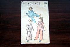 Vintage ADVANCE 4180 Unprinted Childs Long & Short Sleeve Pajamas Sewing Pattern