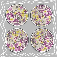 A personal favorite from my Etsy shop https://www.etsy.com/listing/263890722/purple-yellow-floral-round-35-wooden